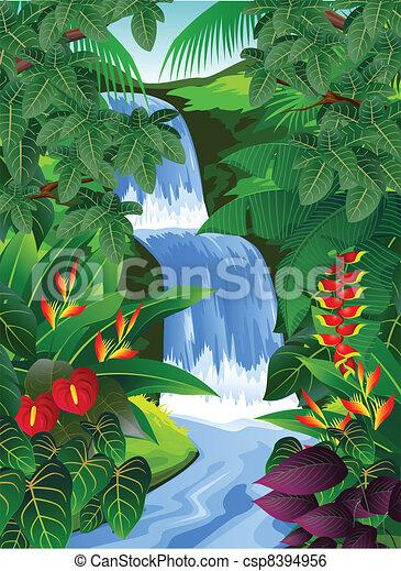 bosque tropical, plano de fondo - csp8394956