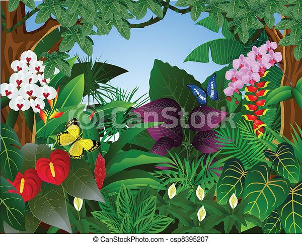 Trasfondo tropical del bosque - csp8395207