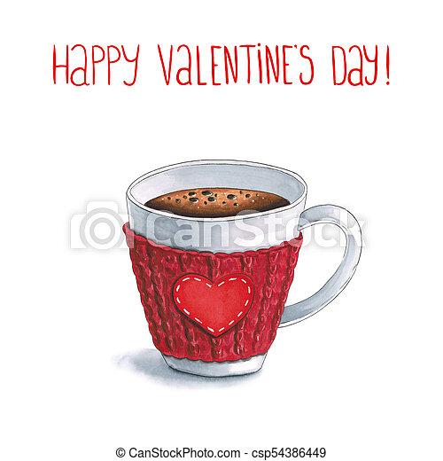 Marcas de whisky una taza de café caliente y saludos con San Valentín en el fondo blanco. Sketch hecho en marcadores de alcohol - csp54386449