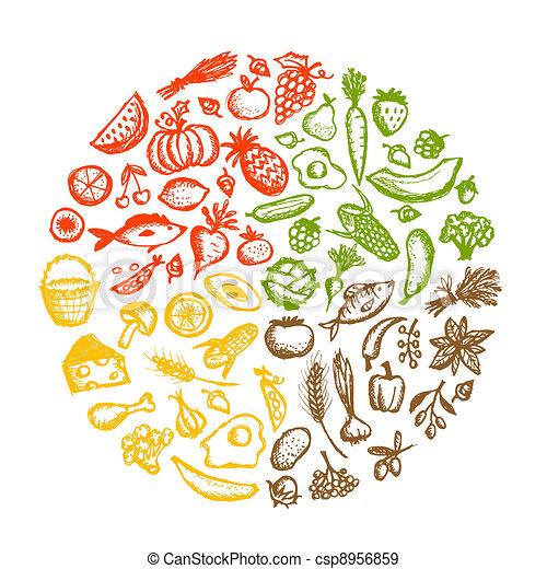 bosquejo, alimento sano, plano de fondo, diseño, su - csp8956859