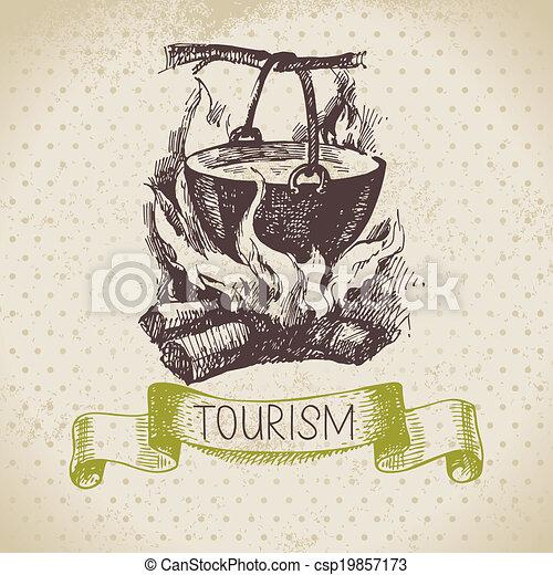 Fondo de turismo de dibujos antiguos. Hike y mano de camping dibujado ilustración - csp19857173