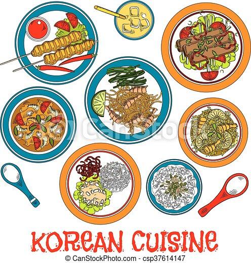 Carne asada coreana y platos de mariscos - csp37614147