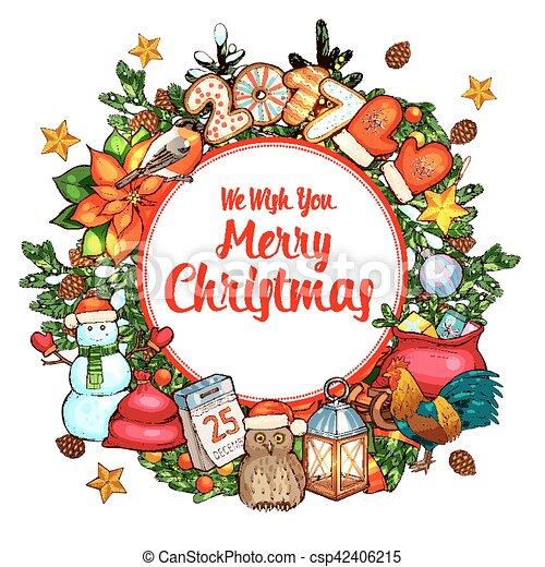 bosquejo cartel guirnalda navidad diseo navidad vector - Guirnalda Navidad