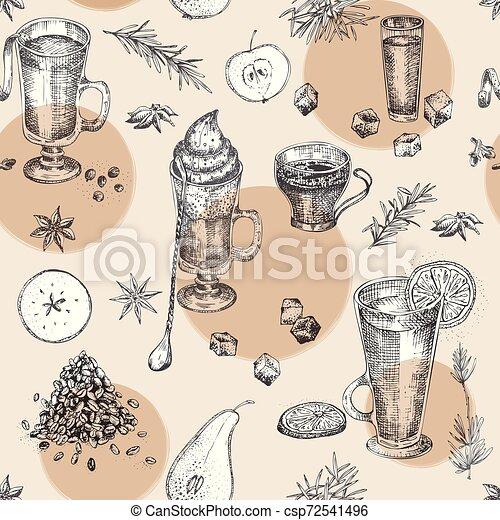Patrón de diseño de bocetos, bar, restaurante, fondo del menú. Arte vectorial gráfico. Planta creativa irlandesa para folletos, carteles, folletos. - csp72541496