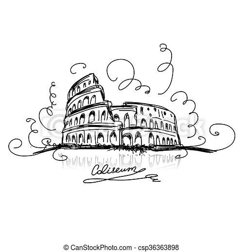 Bosquejo Coliseo Romano Romano Bosquejo Vector Colosseum