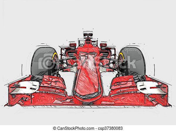 Fórmula roja, un coche, un boceto de color - csp37380083