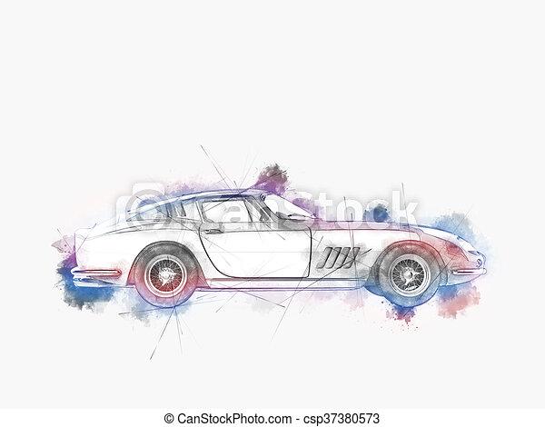 Coche vintage colorido, dibujo a mano - csp37380573