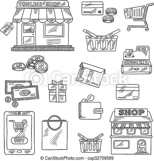 Comprando y vendiendo iconos, estilo boceto - csp32709589