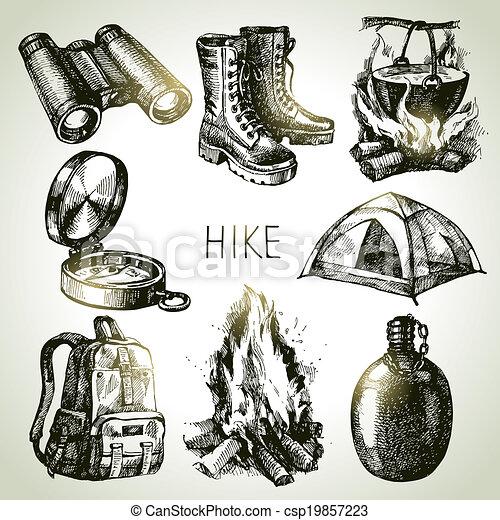 Hike y el set de turismo de acampada. Elementos de diseño Sketch - csp19857223