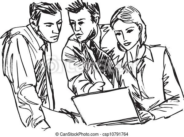 Esquela de exitosos empresarios que trabajan con portátiles en la oficina. Ilustración del vector - csp10791764