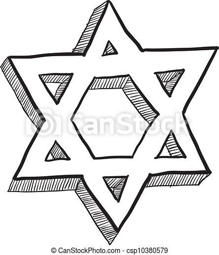 Estrella de David Sketch - csp10380579