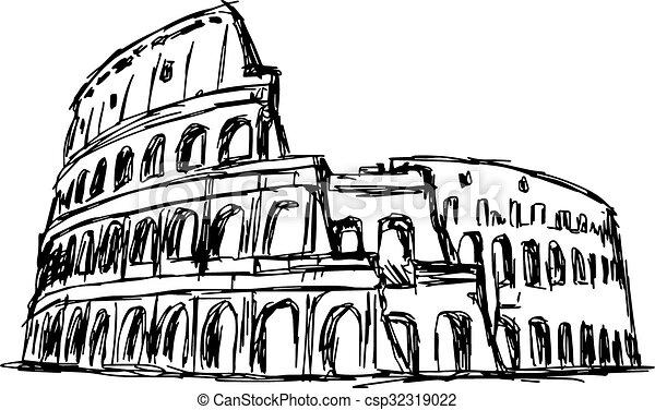 Bosquejo Garabato Aislado Ilustración Mano Coliseo Romano