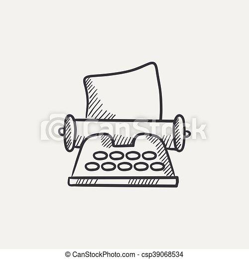 Icono de dibujo de máquina de escribir. - csp39068534