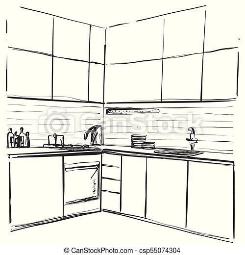 bosquejo, illustration., dibujo, vector, interior, muebles, cocina