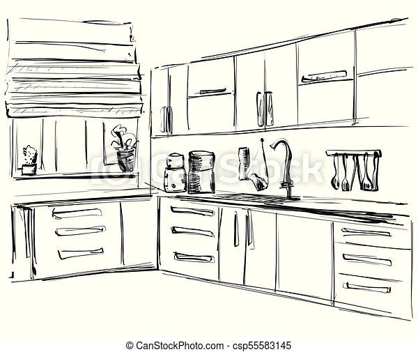 Bosquejo, illustration., dibujo, vector, interior, muebles, cocina.
