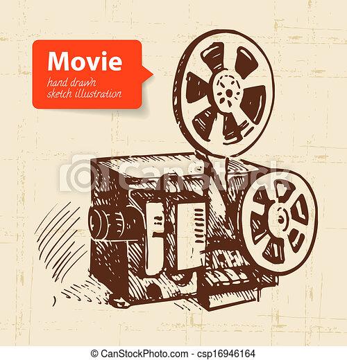 Ilustración de películas a mano. Escotilla de fondo - csp16946164