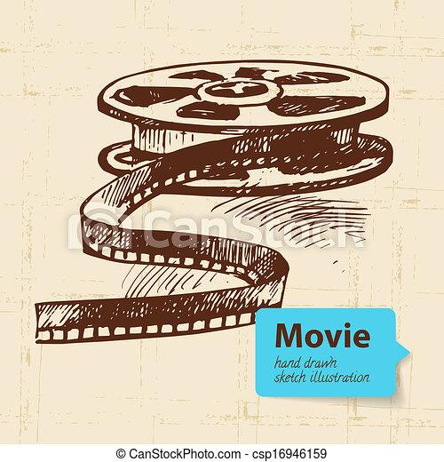 Ilustración de películas a mano. Escotilla de fondo - csp16946159