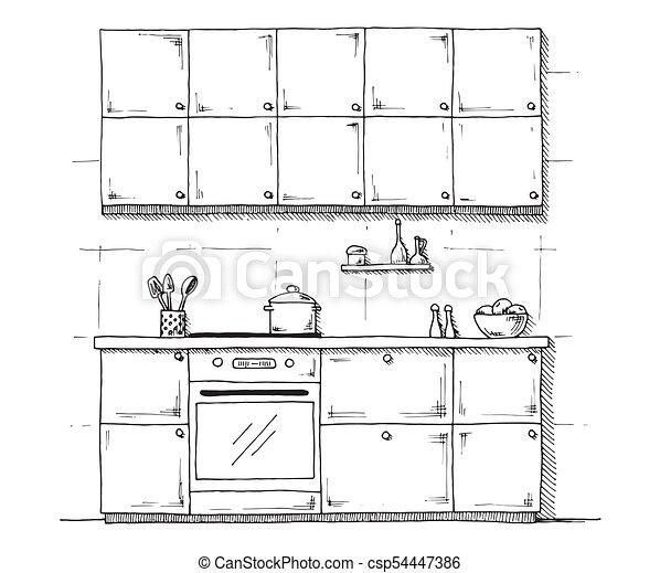bosquejo, ilustración, fondo., vector, blanco, muebles, style., cocina