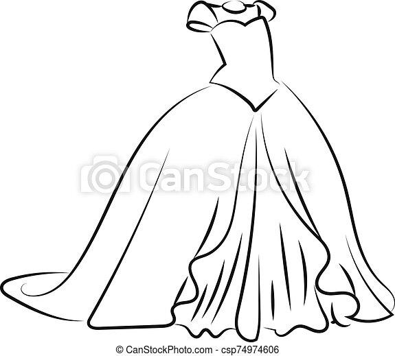 bosquejo, ilustración, vestido blanco, vector, fondo. - csp74974606