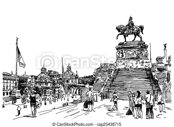 Dibujo a mano de Sketch de la famosa ciudad de Roma Italia - csp23438715