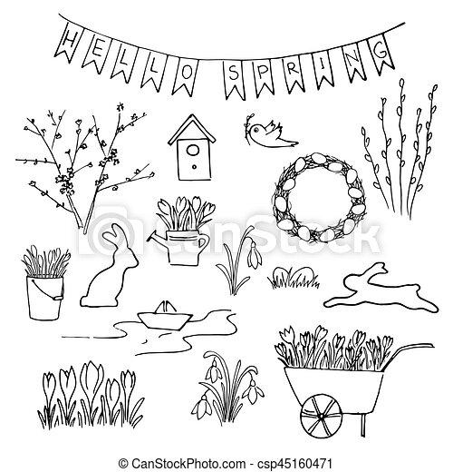 Bosquejo Jardineria Primavera Set Flores Lettering Hola