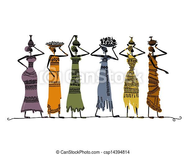 Una pizca de mujeres étnicas con jarras para tu diseño - csp14394814