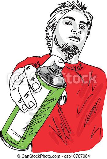 Un dibujo de joven con una lata de spray. Ilustración del vector - csp10767084