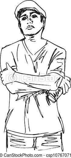 Un dibujo de joven con una lata de spray. Ilustración del vector - csp10767071
