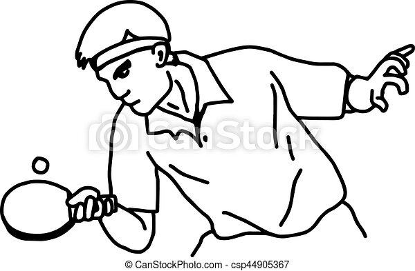 Jugador de tenis de mesa - ilustrador vector mano dibujada con líneas negras, aislado en el fondo blanco - csp44905367