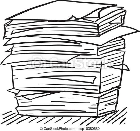 bosquejo, mucho, papeleo - csp10380680