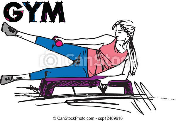 Una mujer haciendo ejercicio en el gimnasio con pesas de pesas - csp12489616