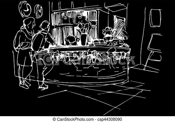 Un boceto de Vector en el hostal de recepción hombre y mujer con mochilas - csp44308090