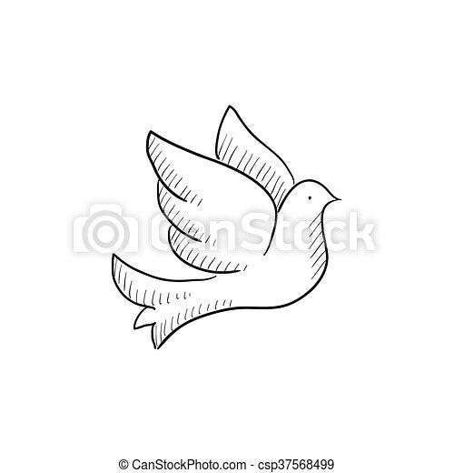 Bosquejo, paloma, icon., boda. Sitio web, bosquejo, fondo ...