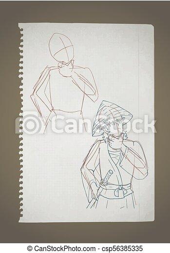 Ilustración en papel antiguo - csp56385335