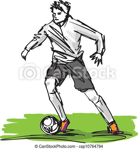 Esquela de futbolista pateando pelota. Ilustración del vector - csp10764794