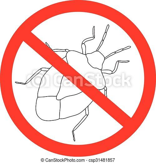 Bicho de escudo de prohibición. Palomena Prasina. Escotilla de gusano. Escudo aislado en el fondo blanco. - csp31481857