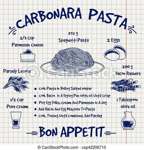 bosquejo, receta, diseño, pastas, carbonara, libro de cocina