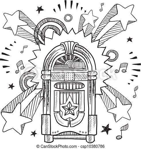bosquejo, retro, jukebox - csp10380786
