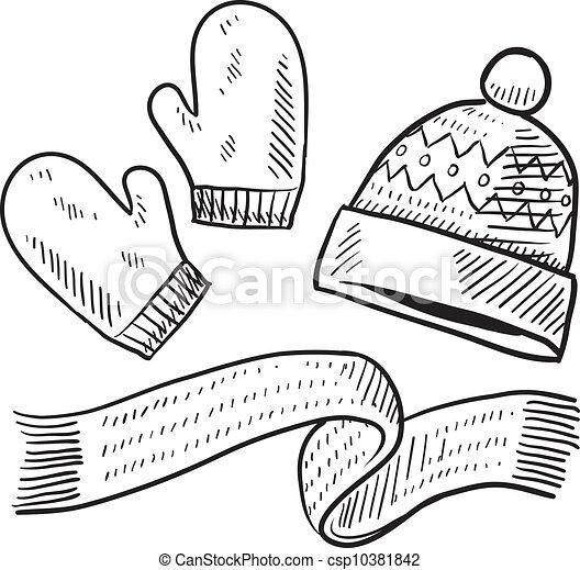 Un boceto de ropa de invierno - csp10381842