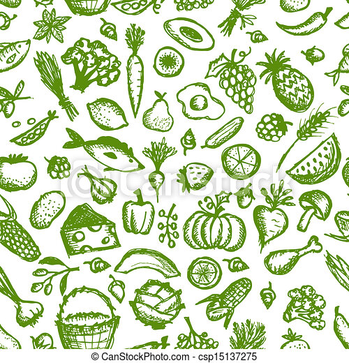 bosquejo, sano, seamless, patrón, alimento, diseño, su - csp15137275