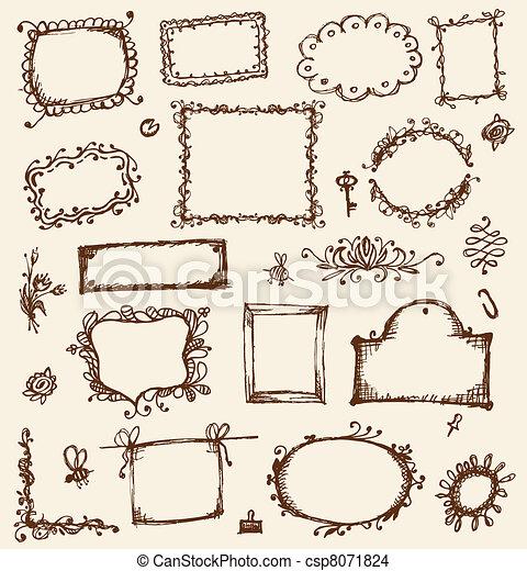Bosquejo, su, marcos, diseño, mano, dibujo.
