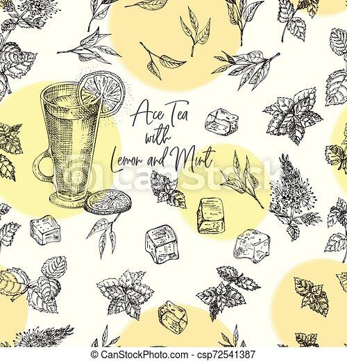 Patrón de diseño de bocetos, bar, restaurante, fondo del menú. Té frío con hielo, limón y menta plantilla creativa para volantes, carteles, grabados al estilo retro - csp72541387