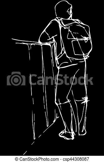 Un boceto de un joven turista con una mochila apoyada en el parapeto - csp44308087