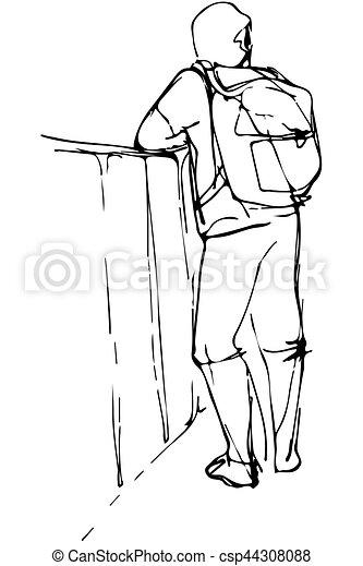 Un boceto de un joven turista con una mochila apoyada en el parapeto - csp44308088