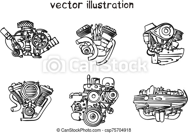 bosquejo, vector, motor - csp75704918