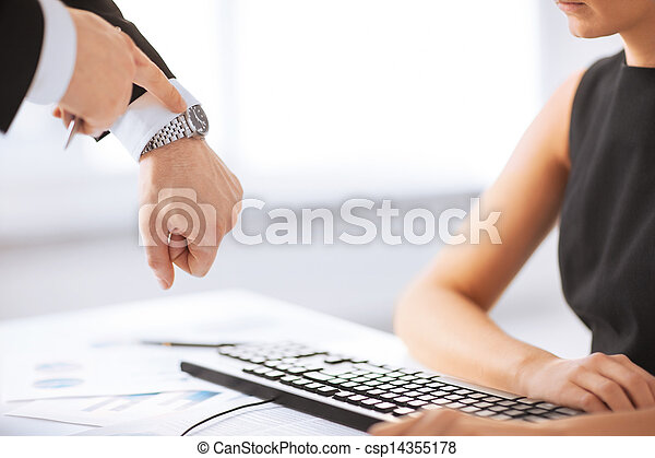 boss and worker at work having conflict - csp14355178