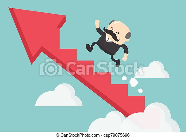 boss businessman climbing the arrow stairs to success - csp79075696