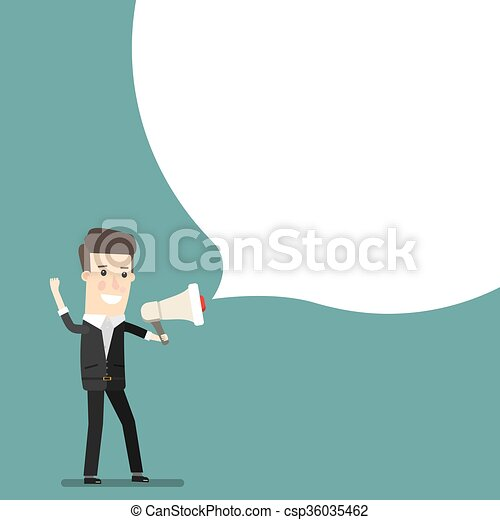 Boss, businessman or manager. A man in a suit shouting through loudspeaker. Business concept cartoon illustration vector - csp36035462