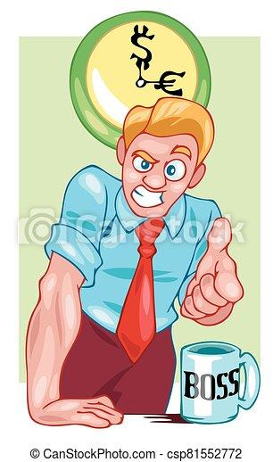 Boss businessman points a finger at you. Color vector illustration - csp81552772