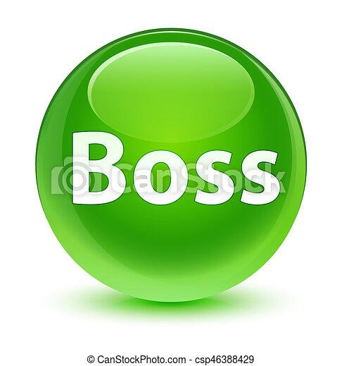 Boss glassy green round button - csp46388429
